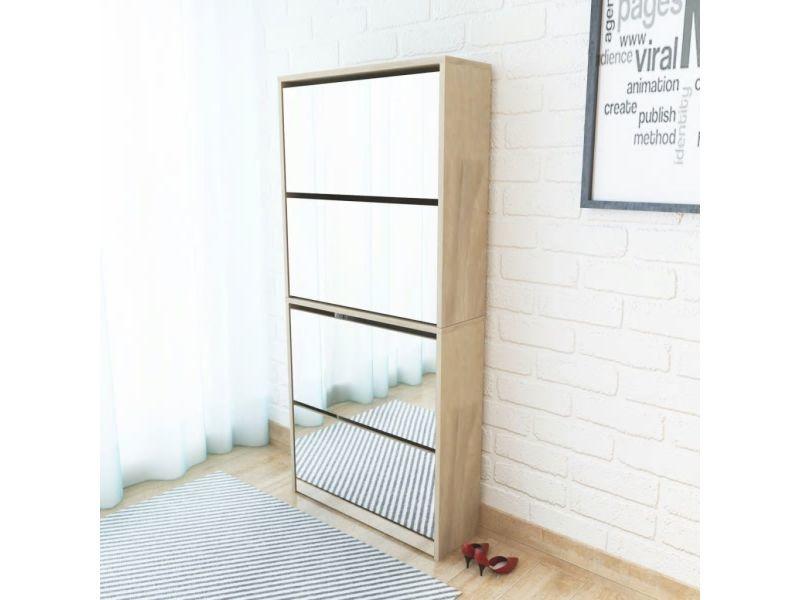 Moderne rangements pour armoires à vêtements selection quito meuble à chaussures 4 étagères avec miroir 63x17x134 cm chêne