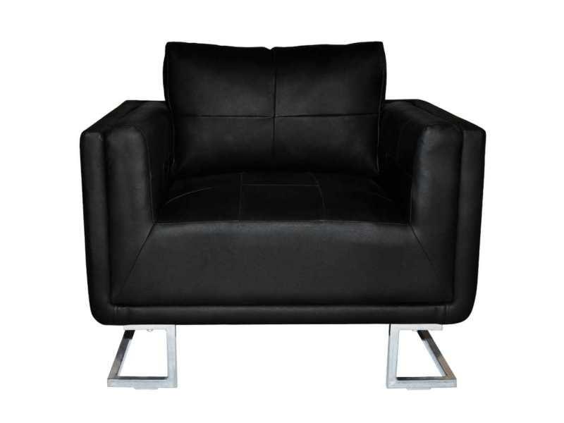 Icaverne - fauteuils club, fauteuils inclinables et chauffeuses lits gamme fauteuil cube avec pieds chromés cuir synthétique noir