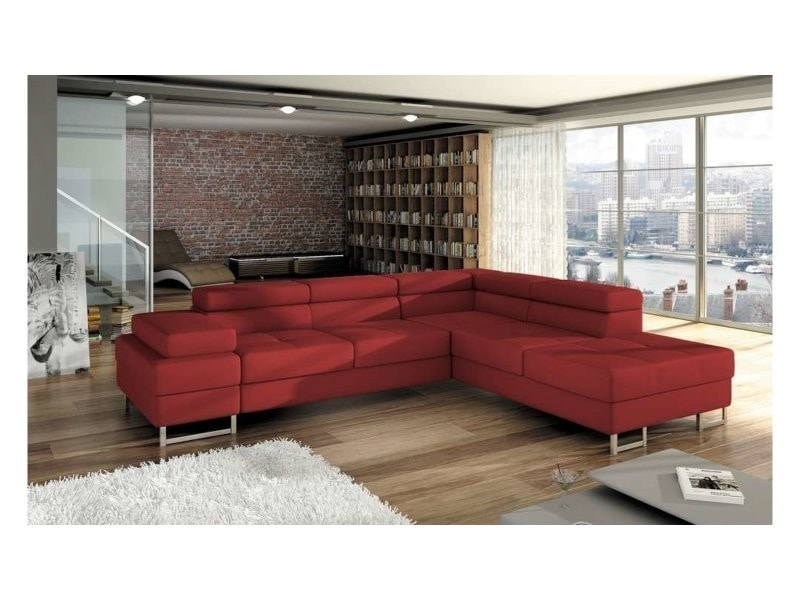 Justyou Tunis Canape D Angle Rouge Angle Droit Conforama