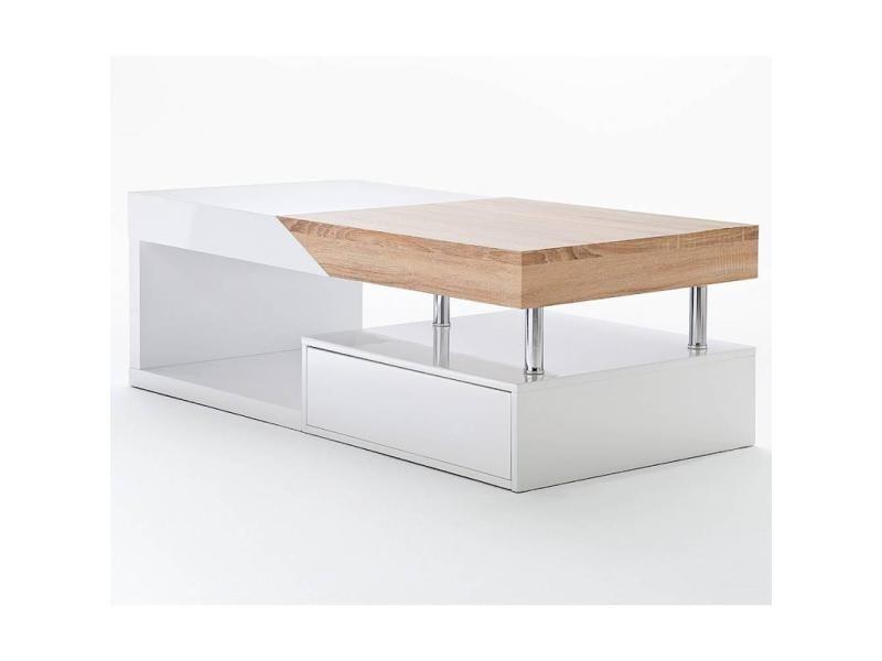 Table basse design howard blanche brillant et chêne plateau coulissant 20100871992