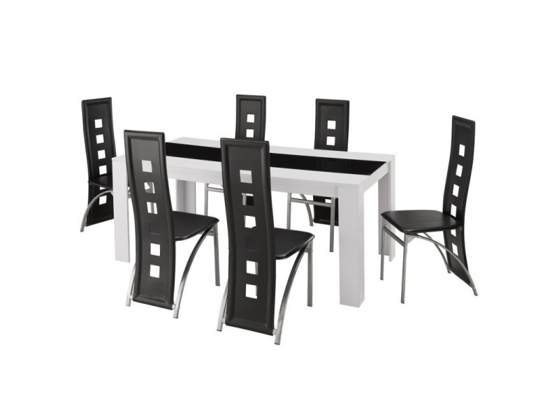 Damia ensemble table a manger 6 a 8 personnes + 6 chaises contemporain blanc et verre trempé noir - l 180 x l 90 cm