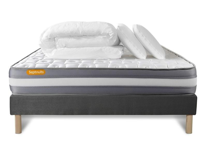 pack matelas sommier gris 140x190 memo plus m moire de forme 3 zones 2 oreillers couette. Black Bedroom Furniture Sets. Home Design Ideas