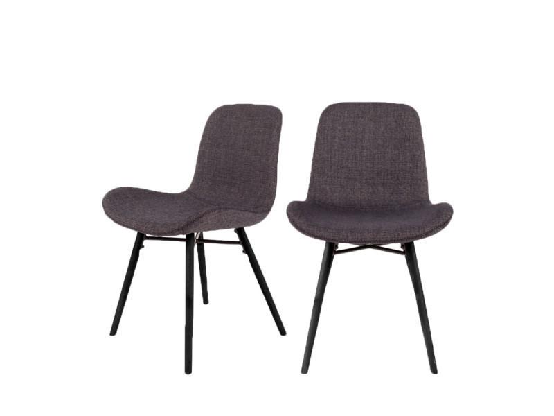 Lot de 2 chaises design lester - couleur - gris anthracite 1100335
