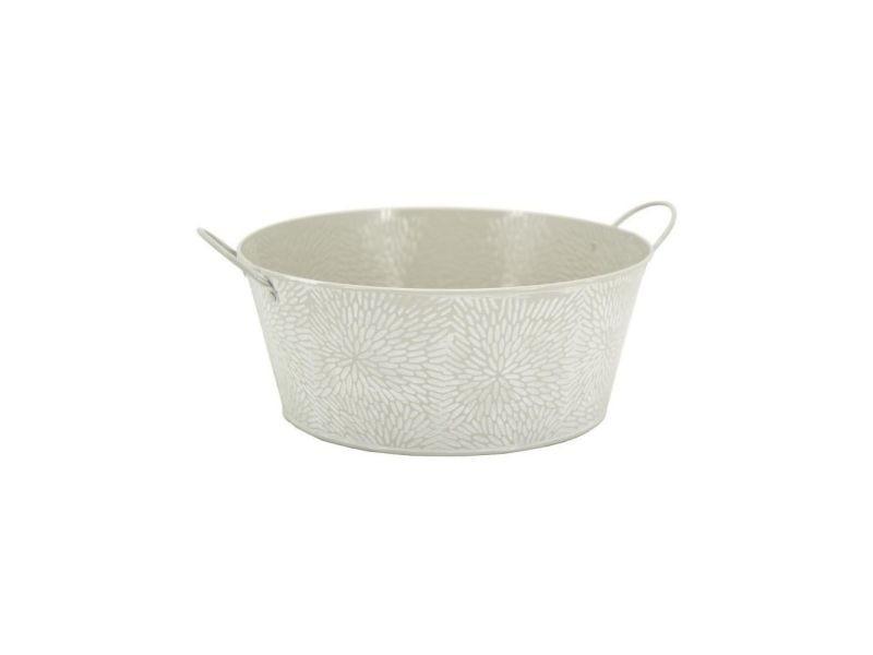 Corbeille ronde en métal laqué motif floral 25 cm
