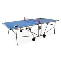 Table de ping pong outdoor bleue, avec 2 raquettes et 3 balles, pour utilisation extérieure, sport tennis de table