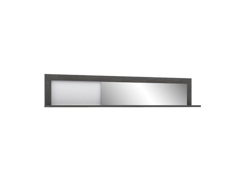Etagère miroir murale 193 cm bois blanc et gris - calvi