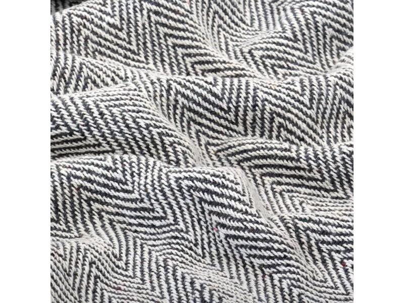 Icaverne - couvertures selection couverture coton à chevrons 220 x 250 cm bleu marine