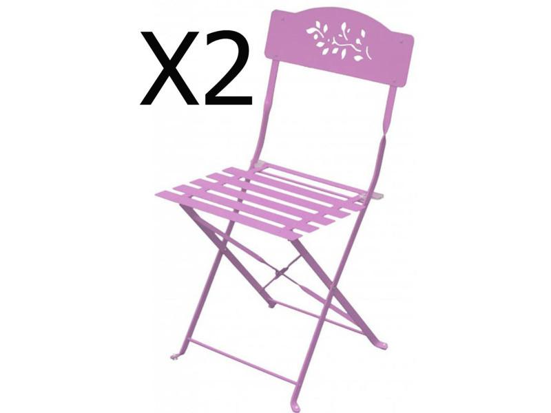 Lot de 2 chaises pliantes de jardin en acier et textilène, coloris chamallow -pegane-
