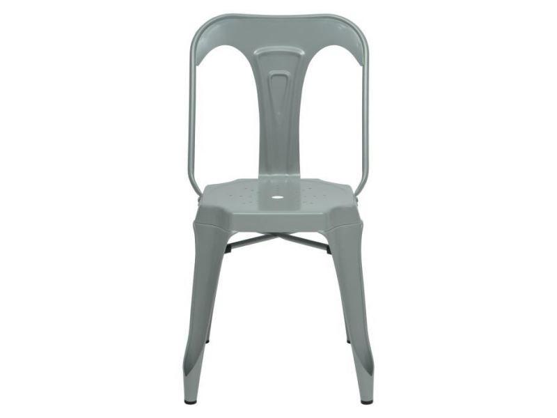 Chaise kraft zoeli lot de 2 chaises de salle a manger - métal gris satiné - style industriel - l 44 x p 53 cm