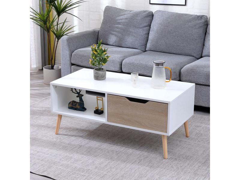 Table basse avec tiroir style scandinave blanche freja