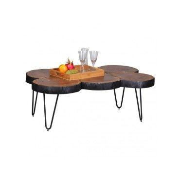 Table basse contemporaine 115x70 cm en sheesham avec 4 pieds en ...
