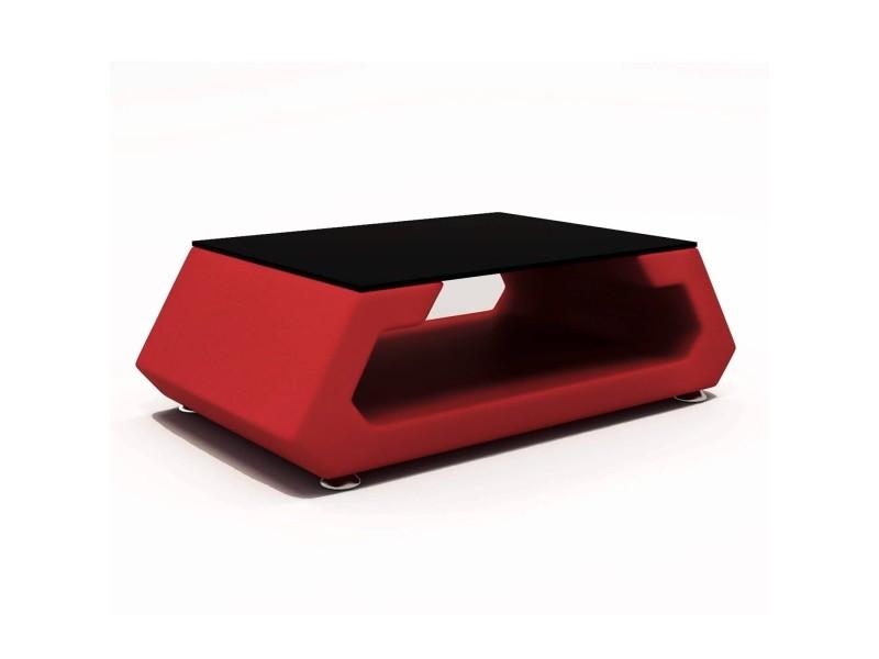 Alma - table basse rouge design avec plateau en verre trempé