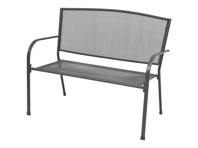 Magnifique sièges d'extérieur serie kinshasa banc de jardin avec accoudoirs maille d'acier 108 x 60 x 88 cm