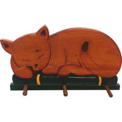 Patère chat en bois exotique 3 crochets