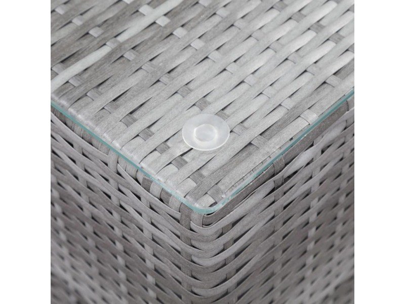 Icaverne - tables d'appoint famille tables d'appoint 3 pcs et dessus en verre gris résine tressée