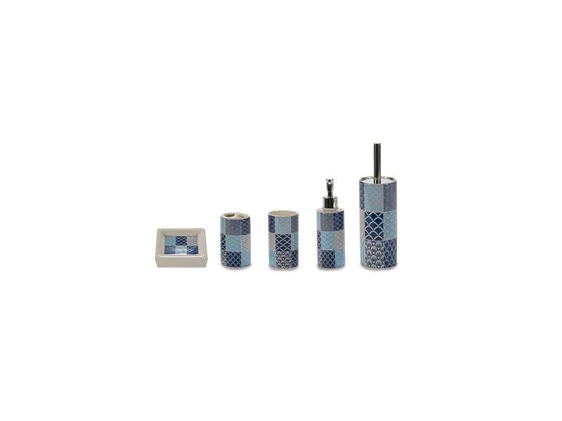 Set salle de bain céramique blanc et bleu façon carreaux de ciment - 5 pièces