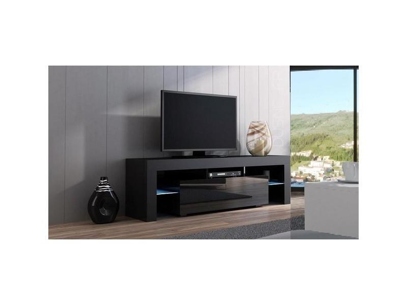 Meuble Tv Spider à Led En Mat Noir Avec Porte Noir Laqué 160 Cm