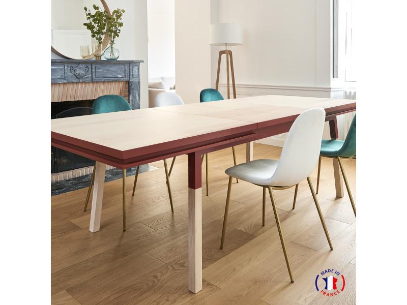 Table extensible bois massif 160x100 cm rouge de pluduno - 100% fabrication française