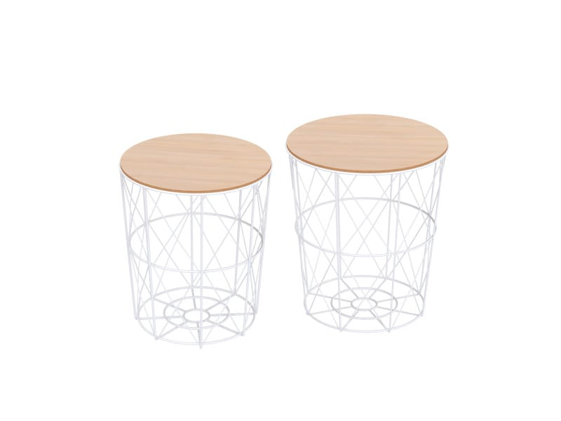 Lot De 2 Tables Basses Gigognes Tables D Appoint Rondes