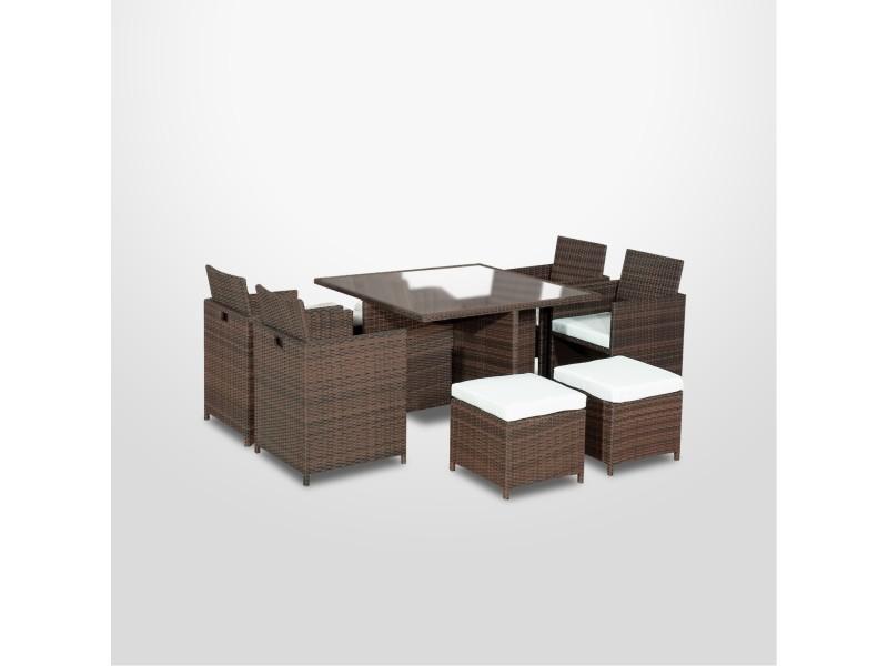 Munga - ensemble encastrable salon / table de jardin résine tressée ...
