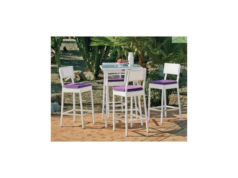 Ensemble de table haute de jardin 75x75 cm + 4 tabourets de bar avec ...
