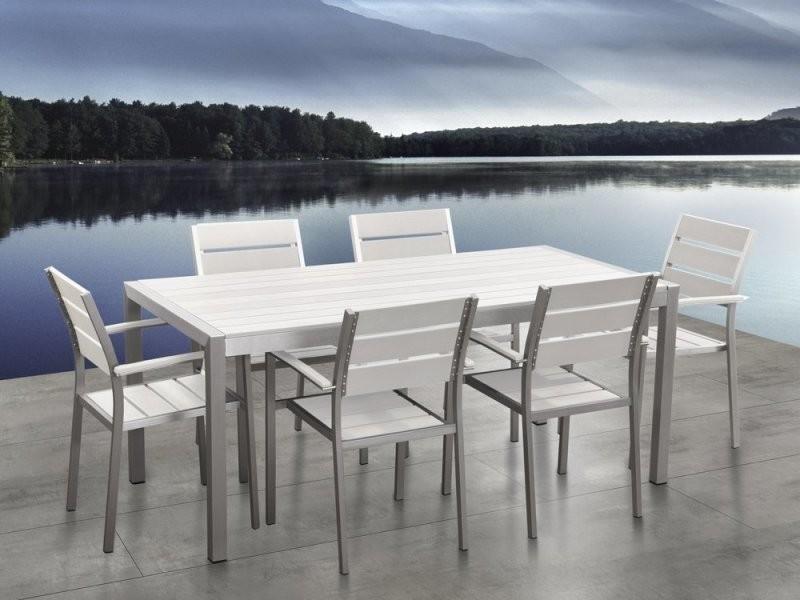 aluminium Table chaises jardin 6 et plateau en de plastique doCexBQrW