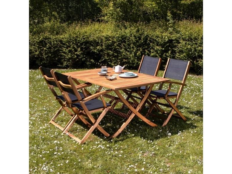 Salon de jardin en bois d\'acacia fsc noir 4 places - Vente ...