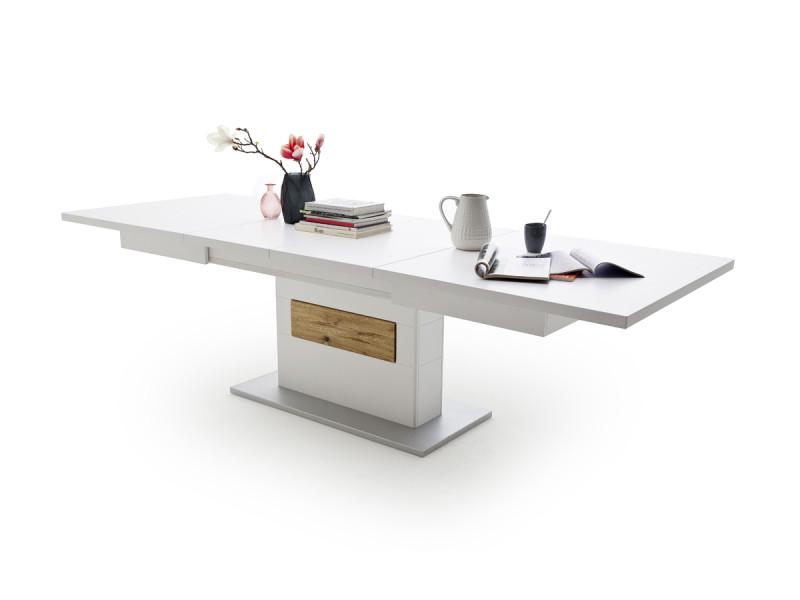 Table en chêne sauvage massif coloris laqué blanc mat - l180-280 x h77 x p100 cm -pegane-