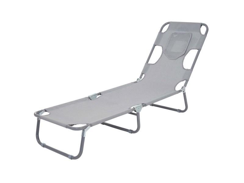Transat chaise longue de jardin pliable en tissu gris mdj04120 ...