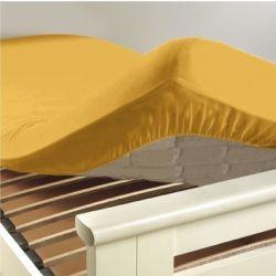 Drap housse coton 57 fils jaune miel 90 x 190 cm