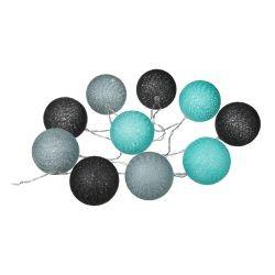 Guirlande lumineuse gris bleu 10 boules led à piles