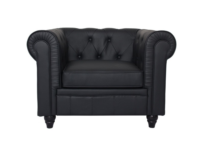 Grand fauteuil chesterfield noir