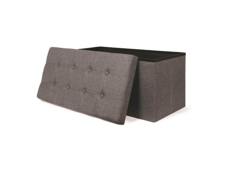 Colla - banc-coffre pliable capitonné tissu gris foncé chiné