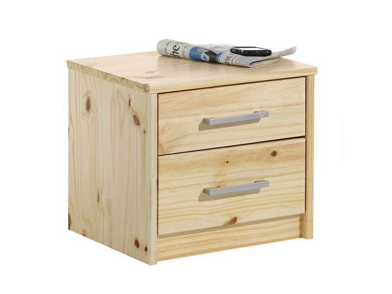 Table de chevet tessa pin massif vernis naturel conforama for Table de chevet en pin massif