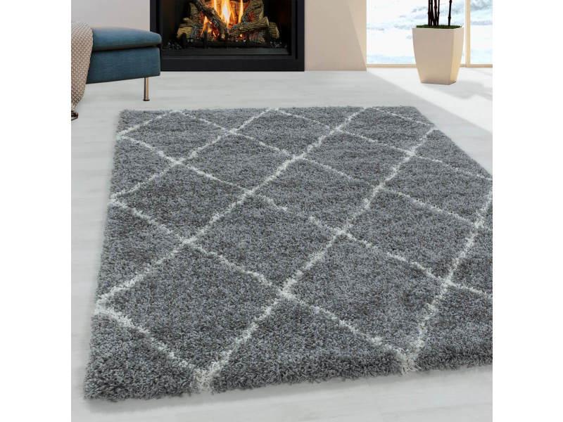 Bobochic tapis shaggy lana gris 160x230