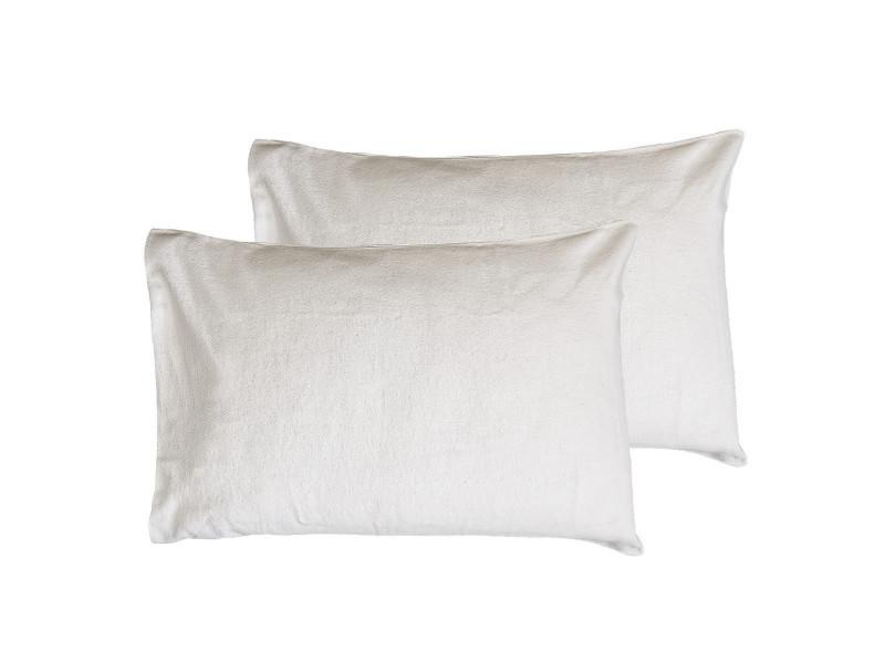 Lot de 2 protège oreillers coton biologique 200gr/m² organika supreme - blanc - 50x70
