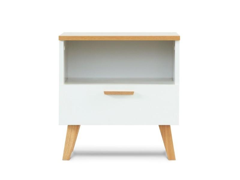 Frili | table de chevet style scandinave | 48x50x46 cm | pieds en bois massif + 1 tiroir | table d'appoint design nordique - blanc/chêne