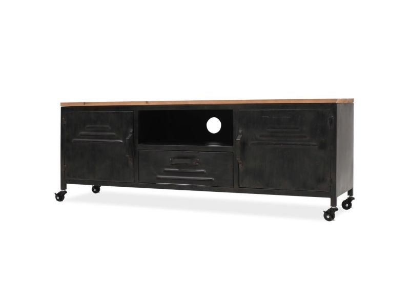 Meuble télé buffet tv télévision design pratique 120 cm noir helloshop26 2502045