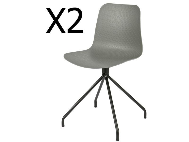 Lot de 2 chaises design en polypropylène, coloris gris - dim : h 81,5 x l 45 x p 46,5 cm - pegane -