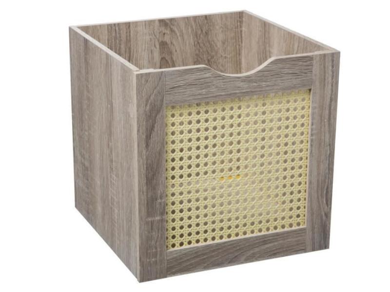 Boîte de rangement cannage - 31 x 31 cm - naturel