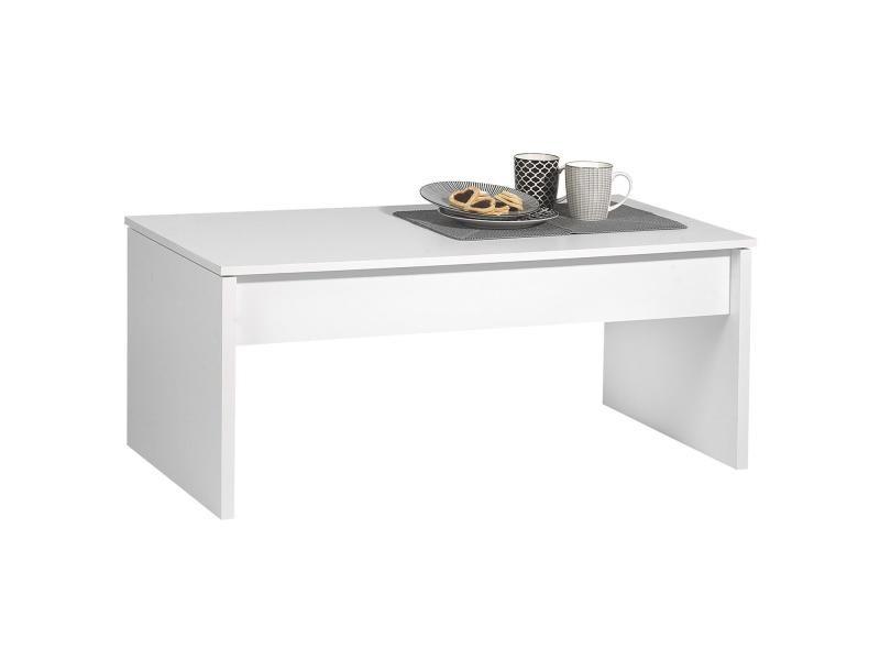 Table basse de salon plateau amovible mélaminé blanc