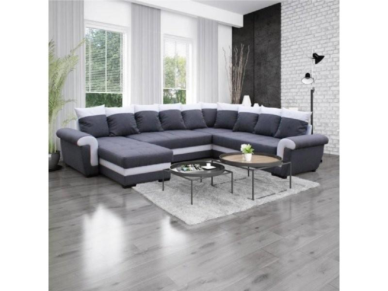 Canapé d'angle panoramique convertible mocca londonderry gris graphite et blanc 20100868109