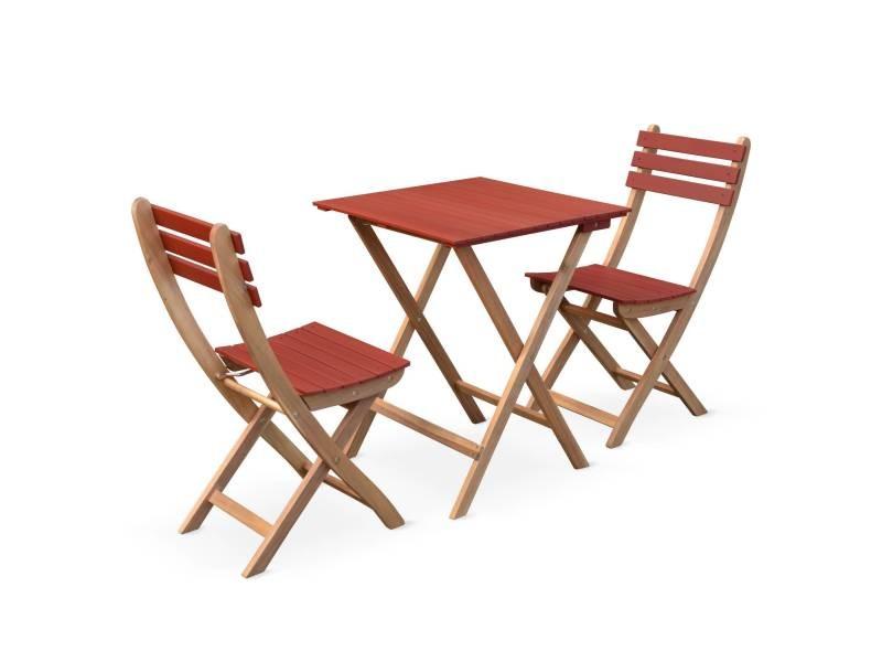 Table de jardin bistrot 60x60cm - barcelona bois / terracotta ...