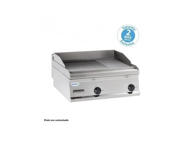 Plaque à snacker électrique - rainurée simple - 346 x 564 mm - gamme 700 - tecnoinox - inox