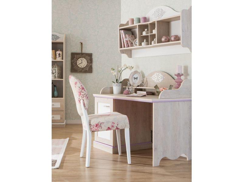 Bureau baroque pour fille coloris bois naturel et blanc p co