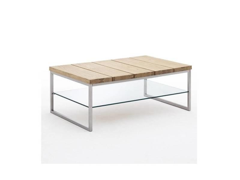 Table basse normandie en chêne à noeud acier et verre 20100880084