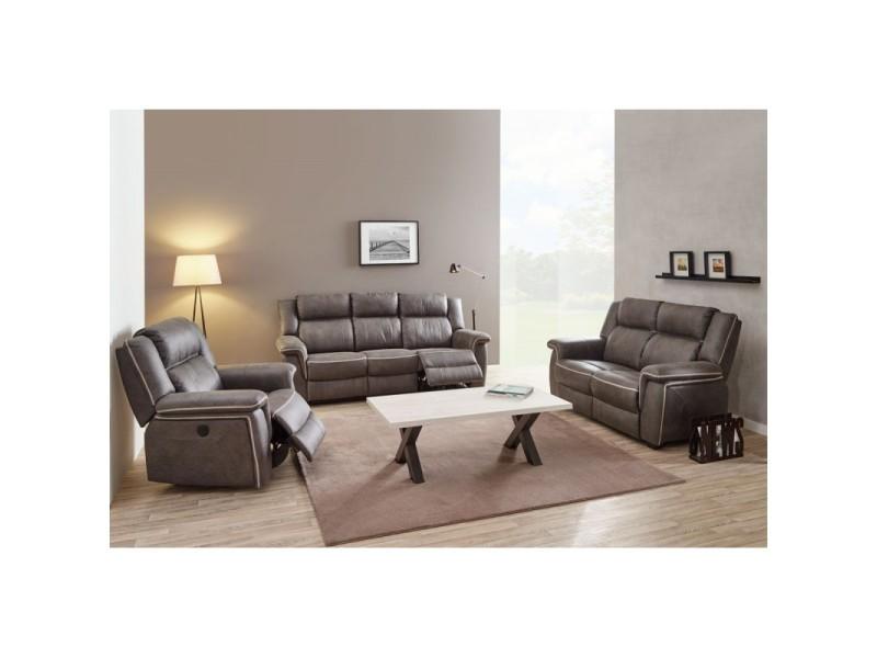 Salon complet relax électrique tissu - tonya - l 211 x l 91 x h 102 - neuf