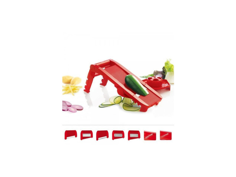 F21010 - mandoline multi lames et râpes - rouge MAS3485990210108