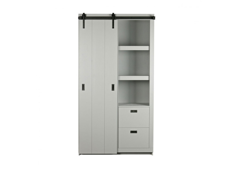 Barn - armoire design bois porte coulissante - couleur - gris béton 378566-BET