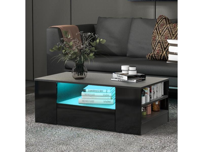 Table basse contemporaine avec éclairage led, étagères, tiroirs
